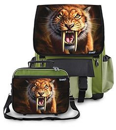 Kidaroo High Quality Backpack  Lunchbox for Boys Girls Kids With Saber Tooth Tiger Interchangeable Flaps Khaki -- You can find out more details at the link of the image.