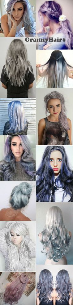 Gray hair, granny hair, grannyhair, silver hair, silver fox, pastel hair. Dark gray ombre hair with color blue, pink and purple. More inspirations on your 2015 summer hairstyles
