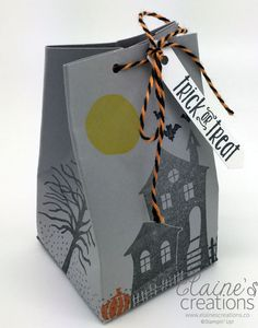 Create a Fun Halloween Treat box with Stampin' Up! Halloween Scares stamp set and a 2, 4, 6, 8 box! Elaine's Creations