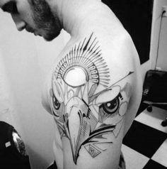 nice Geometric Tattoo - Eagle Head Awesome Guys Geometric Lines Arm Tattoo . Retro Tattoos, Tattoos 3d, Tattoos Arm Mann, Feather Tattoos, Arm Tattoos For Guys, Trendy Tattoos, Future Tattoos, Animal Tattoos, Sleeve Tattoos