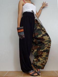 CAMO String tie waist Long Trouser with Woven Pockets Accent,Unisex Drop crotch harem pants unique ,Cotton Blend(pants-AJ2). by Brightfashion on Etsy