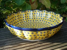 Large yellow bowl by Polish pottery