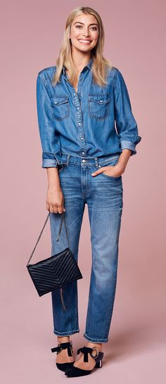 Denim on denim. Denim shirt and boyfriend jeans | Gina Tricot Collections | www.ginatricot.com | #ginatricot