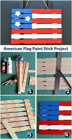 DIY 4th of July Decorations: Paint Stick American Flag Project.