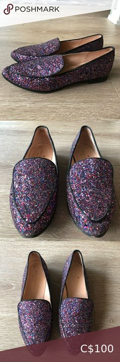Kate Spade Loafers Make a statement with this sparkly Loafers. Worn but in good condition. kate spade Shoes Flats & Loafers Loafer Flats, Loafers, Toms, Kate Spade, Fashion Tips, Fashion Trends, Purple, Closet, Accessories