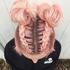 "1,884 Likes, 9 Comments - Kaleidochics  Hair Artists (@kaleidochics) on Instagram: ""Too cute.... PEACH space buns by  @laurenmichellemuaa ・・・ hair color and style by me! #bioboho…"" Braid Buns, Top Braid, Mohawk Braid, Long Mohawk, Bun Updo, Dyed Hair Pink, Cool Hair Dyed, Cool Hair Colours, Pastel Hair Colors"