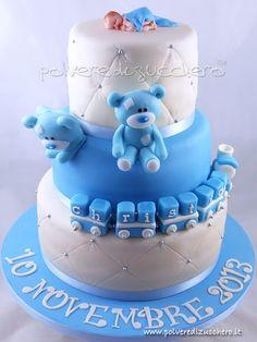 Polvere di Zucchero: cake design e sugar art. Corsi decorazione torte,biscotti,cupcakes e fiori: Torta Battesimo con orsi per un bimbo