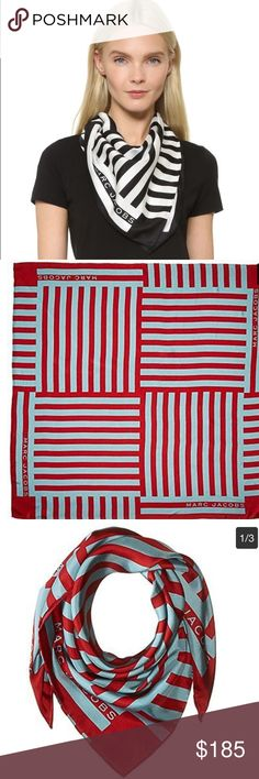 NWT Marc Jacobs Satin Striped Bandana Scarf Brand new with tags. 100% authentic. Color is the light blue and red striped (first picture black and white already sold). Gorgeous accessory to dress up any outfit! Marc Jacobs Accessories