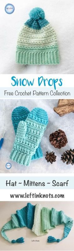 The free crochet pattern collection combines the beautiful texture of the star stitch with you favorite worsted weight yarn (I used Caron Cakes). There are video tutorials to help you with the stitches and construction, and the hat, mittens and triangle scarf are all FREE patterns. #crochet #caroncakes #freecrochetpattern