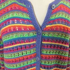 Orvis Crochet Knit Cardigan Sweater Sz M Pink Green Blue Orange Striped Cotton   | eBay