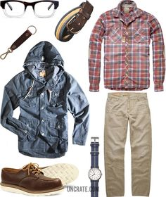 Dockers Alpha New British Khaki 5 Year ($59). Scotch & Soda Checkered Elbow Patch Shirt ($105). Red Wing Moc Toe Oxford ($230). Triple Fat Goose Chambray Jacket ($83). Warby Parker Huxley Eyeglasses ($95). Timex Weekender Watch ($45). Levi's Vintage Cassady Belt ($135). Makr Key Chain ($32).