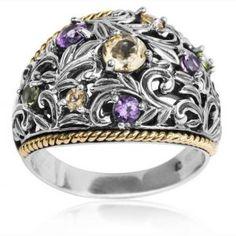 Athena Jewelry Athena Jewelry Sterling Silver and 14k Gold Multigemstone Openwork Filigree Wide Band Ring Jewelry