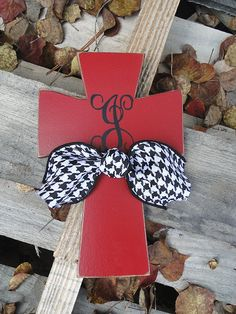 Monogram Wooden Distressed Cross with Houndstooth and Burlap Ribbon