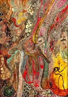Painting by Izabella Ortiz (France) Art Inspo, Painting Inspiration, Art Visionnaire, Motif Art Deco, Art Premier, Art Brut, Art Original, Art Et Illustration, New Energy