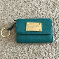 Michael kors coin wallet Brand new with tag, Michael kors flap coin wallet , color Aqua green teal , cute little wallet , price firm Michael Kors Bags Wallets