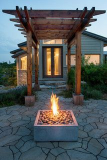 Rectangular Firepit - rustic - landscape - toronto - by Hauser Stores