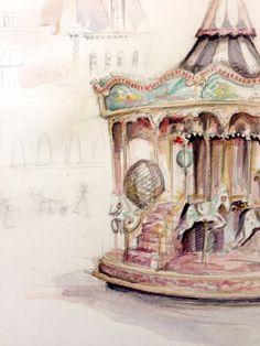 art / watercolour / carousel