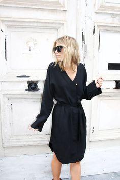 black shirrt dress