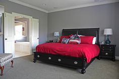 wall paint color -- Sherwin-Williams Gray Clouds for boys room Cloud Bedroom, Bedroom Red, Bedroom Paint Colors, Red Bedrooms, Bedroom Stuff, Grey Boys Rooms, Transitional Bedroom, Grey Clouds, Modern Bedroom Design