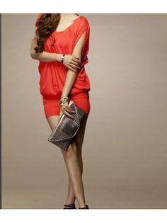 Round Neck Short Sleeve Orange Tunic Dress