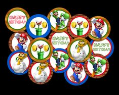 Super Mario Cupcake Toppers Super Mario Cupcakes, Cupcake Toppers, Your Design, Card Stock, Vibrant Colors, Banner, Happy Birthday, Banner Stands, Happy Brithday