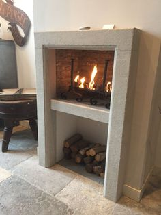 Stove Fireplace, Fireplace Ideas, Stone Mantel, Light My Fire, Baby Coming, Fireplace Surrounds, Fireplaces, Contemporary Style, Cozy
