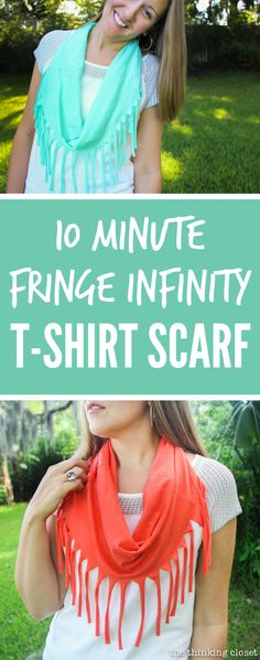 10 Minute Fringe Infinity T-Shirt Scarf - - one of the quickest, easiest, and most fun DIY projects you'll ever do!  Oh, and the best part?  Supplies are FREE if you raid your closet for an old t-shirt to upcycle!  Just another inspiring tutorial from Scarf Week 2015!  Stop by to check out all 7 DIY T-Shirt Scarves.