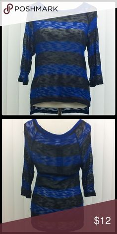 NWT Navy & Black Sheer High Low Striped Sweater Soft Material! 48% Polyester, 48% Rayon, 4% Spandex. LA CLASS Sweaters Crew & Scoop Necks