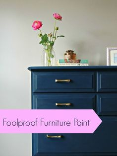 A DIYer's dream, no more brush strokes! Foolproof furniture paint ! This is a great review of this paint and she even shows a video of how easy it is to use!