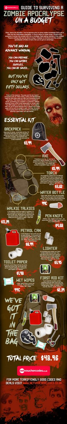 Guide to Surviving A Zombie Apocalypse  Infographic