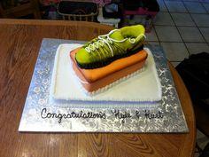 Cross country and track high school graduation cake. Breckenridge, Michigan. Shoe and shoe box cake. Nike.