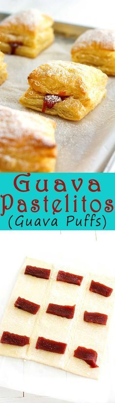 Guava pastelitos (guava pastry) made with puff pastry and guava paste. These Pue. Guava pastelitos (guava pastry) made with puff pastry and guava paste. These Puerto Rican sweet guava puffs look so Spanish Desserts, Spanish Dishes, Just Desserts, Delicious Desserts, Yummy Food, Spanish Food, Guava Desserts, Hispanic Desserts, Cuban Dishes