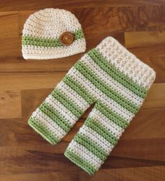 Crocheted Baby Boy Pants and Hat with Wooden Button Set ~ Cream & Sweet Pea Green ~ Shower Gift ~ Newborn Size (0 - 2 Month) ~ MADE TO ORDER by KaraAndMollysKids on Etsy