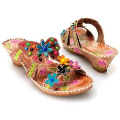 """Corkys Elite """"Rosie"""" Leather Hand-Painted Flower & Butterfly Wedge Sandals"""