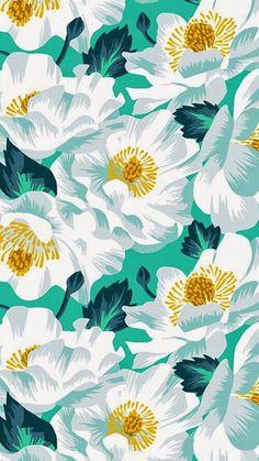 White aqua floral wallpaper