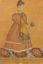 JOSEPH H. DAVIS (1811 - 1865) | Portrait of a Girl on a Patterned Carpet, Holding Flowers