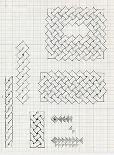 Graph Paper Drawings, Graph Paper Art, Doodle Drawings, Easy Drawings, Blackwork Patterns, Celtic Patterns, Celtic Designs, Zentangle Patterns, Celtic Drawings