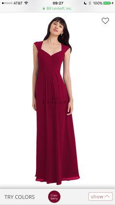 Cranberry Bill Levkoff bridesmaid dress sweetheart neckline