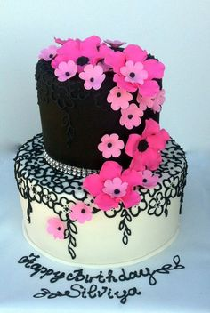Pink and Black Lovers Cake  ~ All edible and hand done