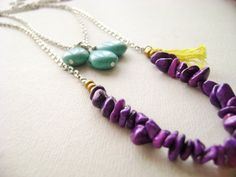 Layering set necklace turquoise beads  Violet by DivinaLocura