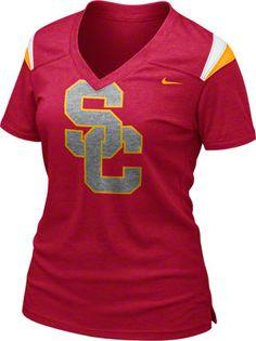 USC Trojans Women's Red Nike Football Replica T-Shirt