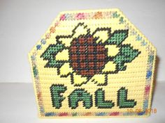Items similar to Fall Napkin Holder, plastic canvas, kitchen on Etsy Paper Plate Holders, Paper Plates, Pot Holders, Napkin Holders, Plastic Canvas Coasters, Plastic Canvas Crafts, Craft Projects, Sewing Projects, Needlepoint
