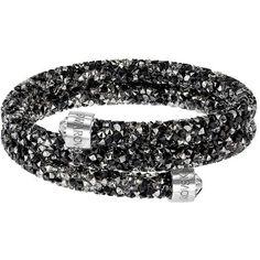 Swarovski Crystal Dust Bangle Bracelet ($89) ❤ liked on Polyvore featuring jewelry, bracelets, black, swarovski bangle, hinged bracelet, stainless steel bangle bracelet, swarovski crystals jewelry and bangle jewelry
