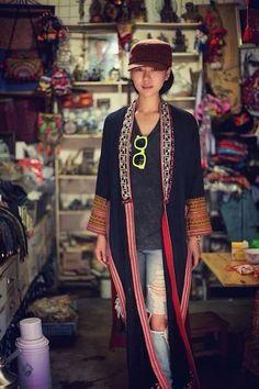 范儿大码汉服棉麻老绣片超长款泰国绣袍子长衫独一无二短外套绣花-淘宝网