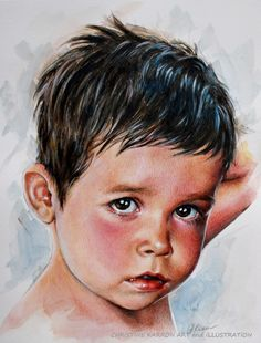 """""""Baby J"""" portrait of my youngest son mixed media (pencil, watercolor, colored pencils and acrylic) on paper, 8x10 inches"""