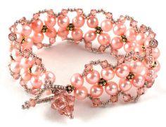Pretty pink bracelet-looks like a right angle weave...
