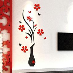 DIY Vase Flower Tree Crystal Arcylic Wall Stickers Decal Home Vinyl Decor