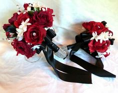 Red and Black and White Wedding Flowers | Red Rose Wedding Bouquet ...