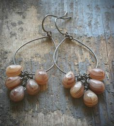 wood grain cluster hoop earrings. czech glass drops and oxidized sterling silver by val b. on Etsy, $29.00