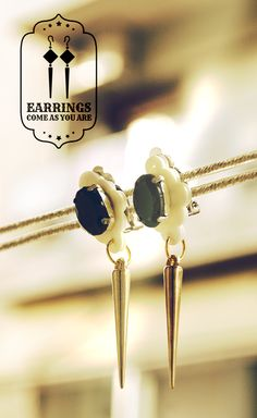 Clip-on Dangle Black Crystal Earrings - Also available in black, pink, purple Victorian Gothic, Black Crystals, Crystal Earrings, Pink Purple, Arrow Necklace, Dangles, Chokers, Fashion Jewelry, Trendy Fashion Jewelry